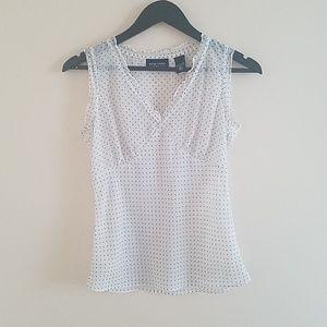 Black & white polkadot sleeveless top